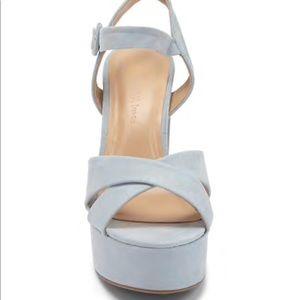 Cross faux suede platform heels